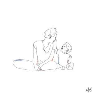 A mother and baby painting